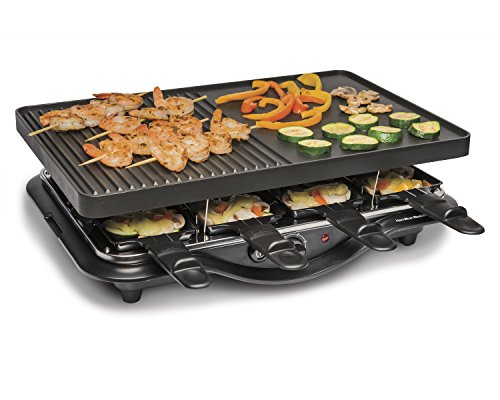- Hamilton Beach 31612-MX Raclette Indoor Grill, 200 Square Inch Nonstick, Black