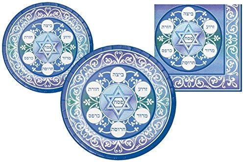 Passover Seder Party Supply Pack! Bundle Includes Paper Plates & Napkins for 8 Guests (Passover Supplies)