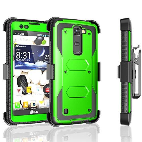 LG Escape 3 Case, LG Phoenix 2 Case, LG Treasure LTE Case, Tekcoo [TShell] [Green] Shock Absorbing [Built-in Screen Protector] Holster Locking Belt Clip Defender Heavy Cover For LG K7/ K8/ Tribute 5 by Tekcoo