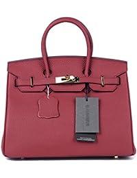 Women's Cowhide Genuine Leather Fashion Zipper Buckle Belt Metalic Top Handle Bag