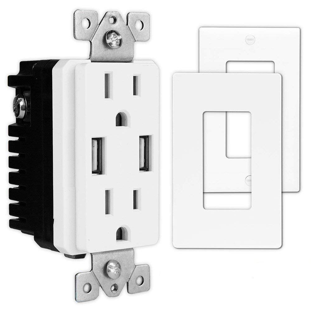 USB Charger Wall Outlet - Dual High Speed USB Charger (4.8A-5VDC) Decor Style Duplex Outlets 15A with surge protection (White)