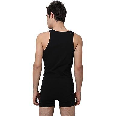97f92882a3 Yisumei Men Underwear Cotton Tank Bodysuit Leotard Top Boxer Brief Black M
