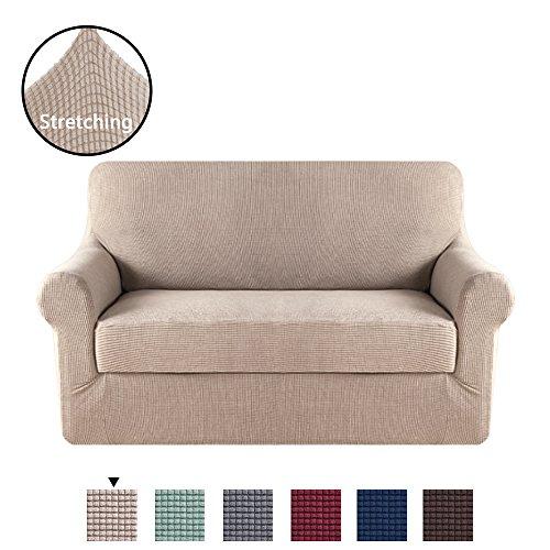 H.VERSAILTEX 2 Pieces Sofa Slipcover Slip Resistant Stylish Furniture Cover/Protector Jacquard Spandex Stretch Sofa Cover/Slipcovers (Loveseat 2 Seater, (Sand Microfiber Sofa)