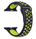 deBeer 42mm Silicone Replacement Band for Apple Watch Series 2, Series 1, Sport, Edition, Nike style, Size M/L (Black / Volt Yellow)