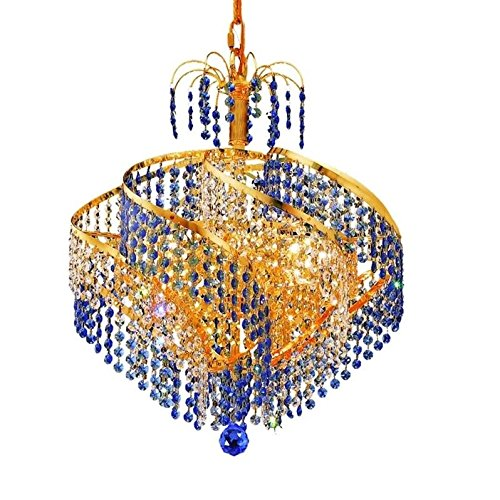Elegant Lighting 8053D18G/SS Spiral Collection 8-Light Hanging Fixture with Swarovski Strass/Elements Crystals, Gold (Spiral Collection 8 Light Chandelier)