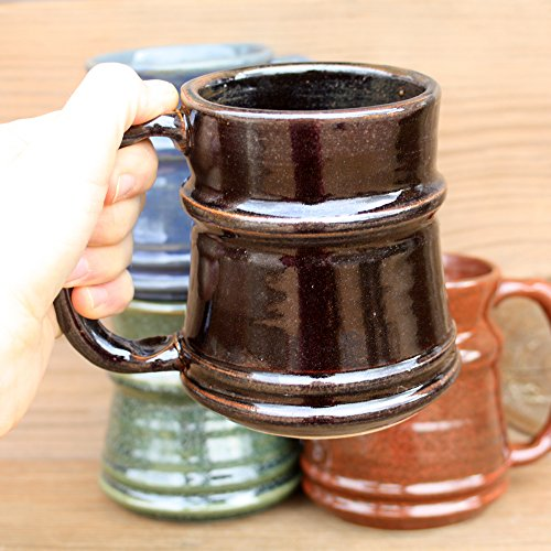 Beer Stein. Handmade Pottery Mug. Blue, Green, Red-Brown, Chocolate Black. Extra Large 16 – 24 Ounces.