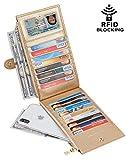 Chelmon Womens Genuine Leather Wallet RFID Blocking Credit Card Holder Zipper Purse(isabella champagn gold)