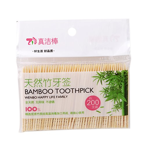 (Iumer Bamboo Party Toothpick Natural Fruit Picks Replacement Package Includes 200)