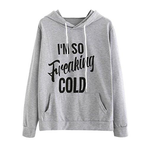 I'M SO Freaking COLD, LUNIWEI Women's O-Neck Long Sleeve Letter Print Hoodie Sweatshirt (M, Gray)