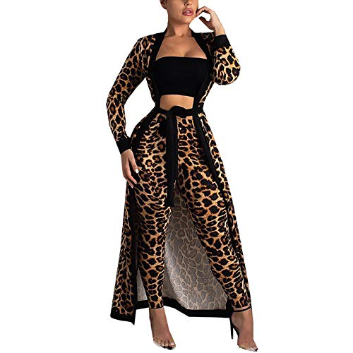 Women 2 Piece Outfits Clubwear Sexy Leapord Print Cardigan and Pants Set Leopard 2XL
