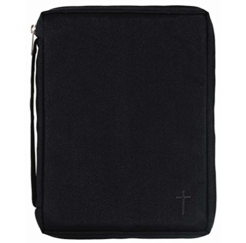 Black Cross Reinforced Polyester Bible Cover Case with Handle, -