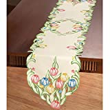 easter table decorations  Multicolor Tulips Table Linens, Runner