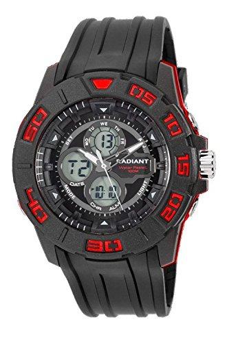 RA318601 Reloj Radiant Caballero,analógico-digital,correa de caucho negra, sumergible 100 metros,garantía 2 años.: Amazon.es: Relojes