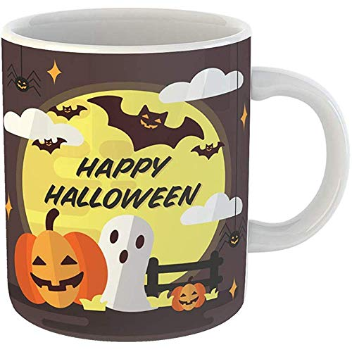 Funny Coffee Tea Mug Gift 11 Ounces Funny Ceramic Orange Autumn Halloween Infographic in Flat Trick Treat Bat Gifts For Family Friends Coworkers Boss Mug -