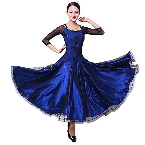 - YC WELL Ballroom Dance Dress Flamenco Waltz Tango Dance Costumes for Women (Blue02,L)