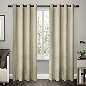 exclusive home curtains crete textured jacquard thermal grommet top window curtain panel pair off