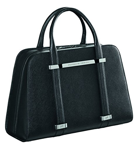 Porsche Design TwinBag Leather Top Handle Handbag (Saffiano Black)