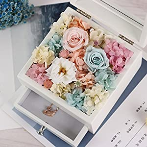 FYYDNZA Immortal Flower Necklace Wooden Gift Box Lipstick Jewelry Box Drawer Valentine'S Day Birthday Girlfriends Wedding Gift,Pink Rose 161612Cm 40