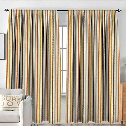 Cream Vertical Stripe - Bedroom Blackout Curtain Panels Vintage,Retro Nostalgic 60s 70s Fashion Stripes Vertical Pattern Vintage,Orange Mustard Dust Cream,All Season Thermal Insulated Solid Room Drapes 84