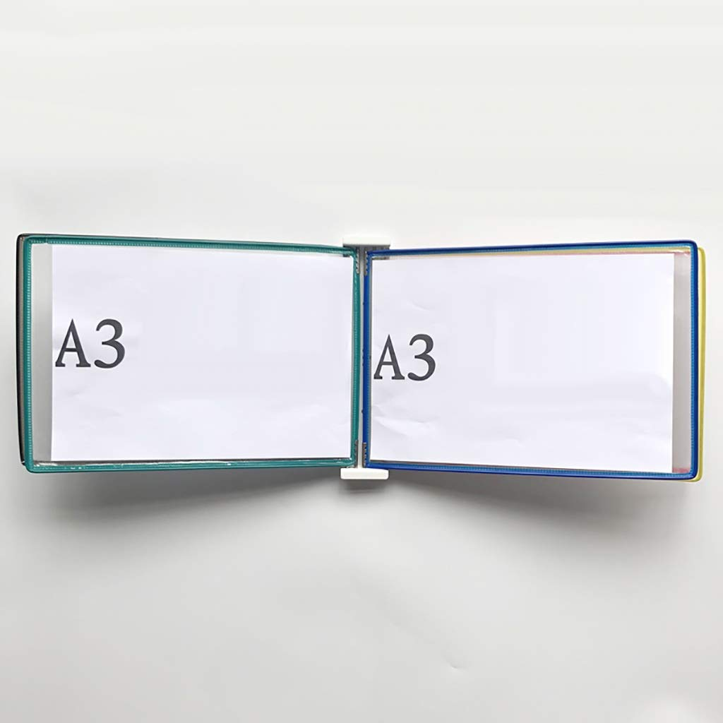 QSJY File Cabinets Shop Page flip Folder A3, Wall-Mounted Loose-Leaf Transparent Page Display Stand (PVC + Metal) 45335CM (Color : B)