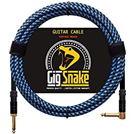 Guitar Cable 10 ft – 1/4 Inch Right Angle Blue Instrument Cable – Professional Quality Electric Guitar Cord and Amp…