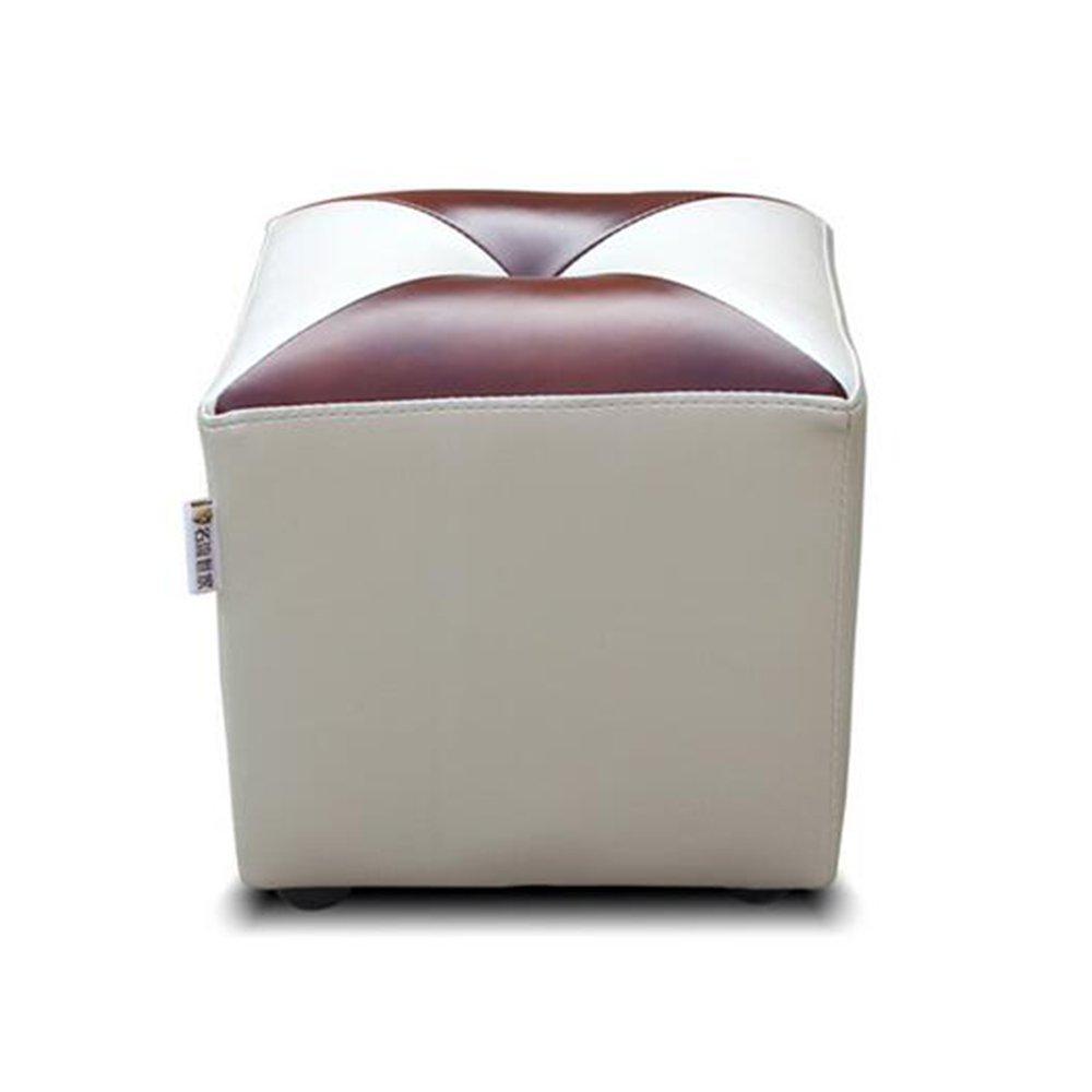 HOMEE Imitation leather for shoe stool european-style living room round sofa stool fashionable dressing stool footstool (color, Style optional),E