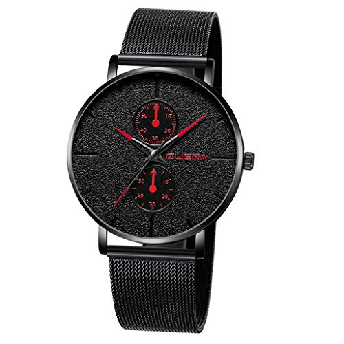 XBKPLO Mens Quartz Watch,High Grade Business Ultra-Thin Fashion Gentleman Minimalist Frosted Dial Analog Wrist Watches Stainless Steel Mesh Strap