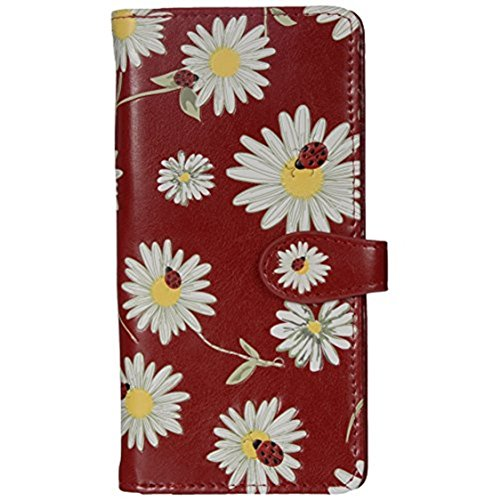 Shag Wear Women's Large Daisies and Ladybugs Wallet w/Zipper (Red)