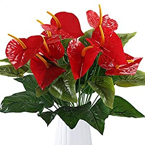 GTIDEA Anthurium Red Flamingo Flower Artificial Fake Outdoor Plant Bushes Silk Floral Arrangements Home Kitchen Bedroom Christmas Decor Pack of 2 15
