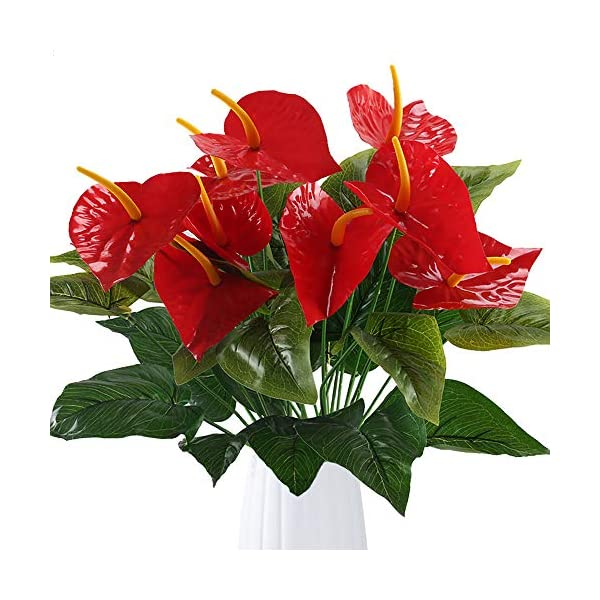 GTIDEA-Anthurium-Red-Flamingo-Flower-Artificial-Fake-Outdoor-Plant-Bushes-Silk-Floral-Arrangements-Home-Kitchen-Bedroom-Christmas-Decor-Pack-of-2
