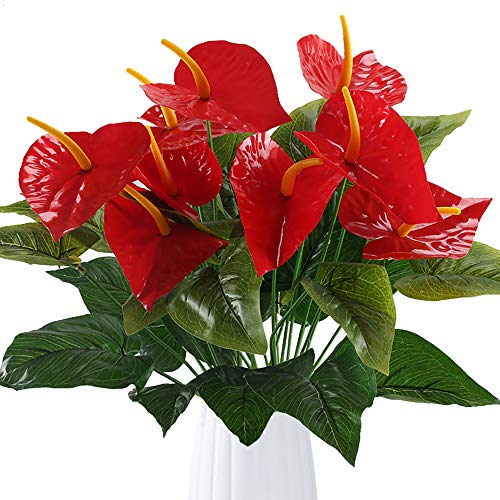 GTIDEA Anthurium Red Flamingo Flower Artificial Fake Outdoor Plant Bushes Silk Floral Arrangements Home Kitchen Bedroom Christmas Decor Pack of 2