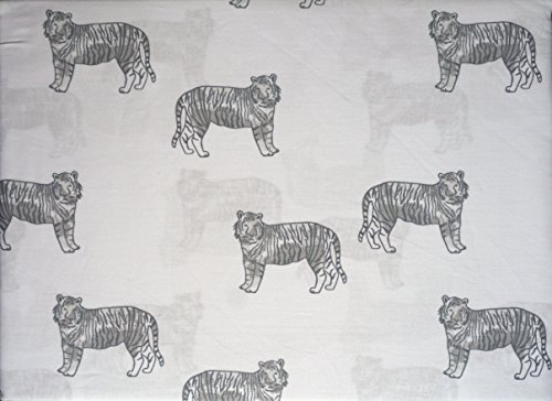 Kids Sheet Set 3 Piece Twin Single Bed Toddlers Gray Tigers on White Hillcrest Kids by Hillcrest Kids