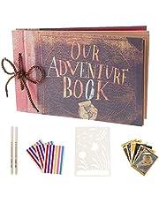 Álbum de fotos hecho a mano AIOR Our Adventure Book, álbum de recortes de viaje para aniversario, expandible de 11.5 x 7.7 pulgadas, 80 páginas con álbum de fotos, caja de almacenamiento, kit de accesorios para bricolaje