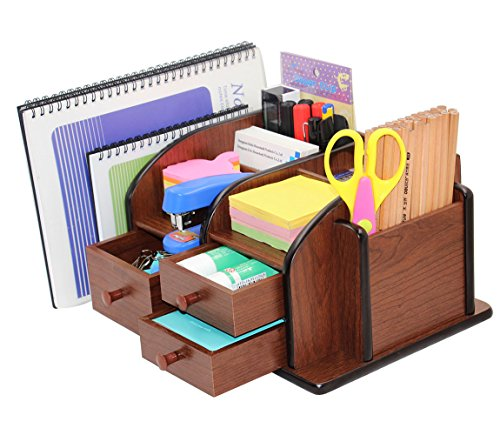 PAG Office Supplies Wood Desk Organizer Pen Mail Holder Accessories Storage Caddy with 3 Drawers, 10 Compartments, Brown (Pen Wooden Holder Style)
