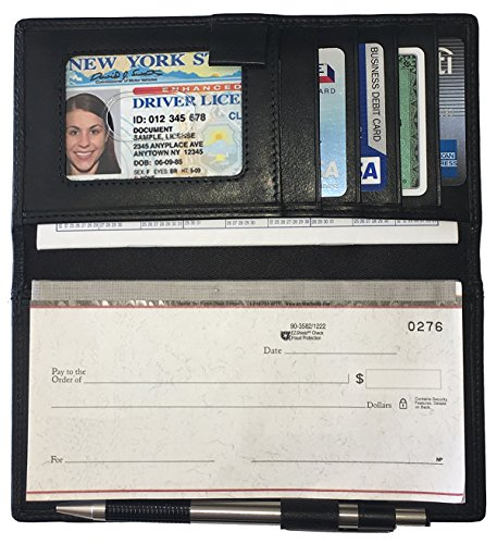 Black RFID Leather Checkbook Cover with Credit Card Slots and Pen Holder