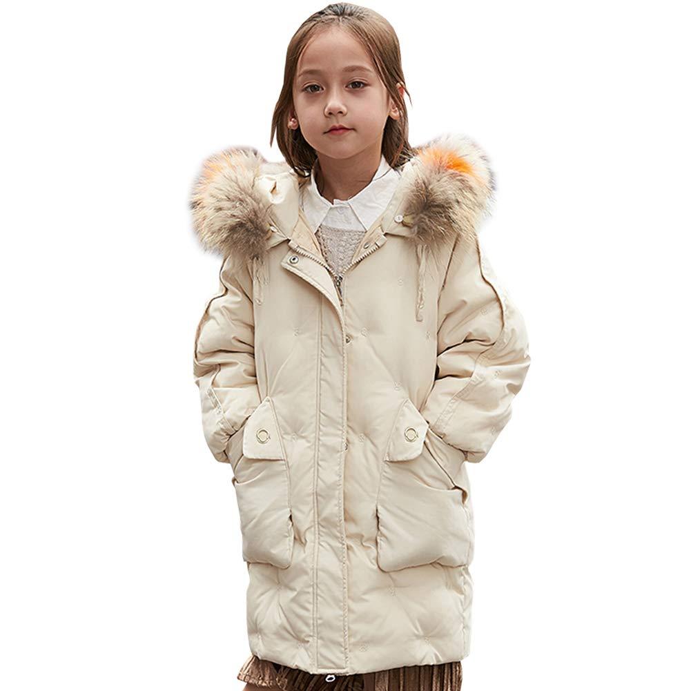 Blanc 4-5 ans SXSHUN Enfant Garçon Fille Manteau Doudoune Duvet Blouson à Capuche Fourrure Poches Parka Rembourré Veste d'hiver Epaisse Coupe Vent