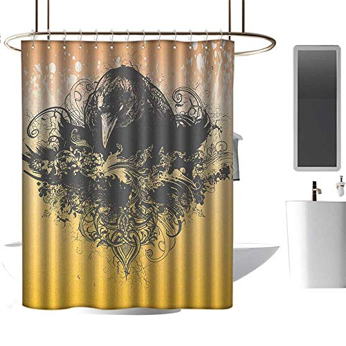 Qenuan Extra Long Shower Curtain Black,Halloween Theme Vector Illustration of a Wicked Crow and Ornate Flowers Print,Black and Mustard,Print Polyester Fabric Bathroom Decor Sets with Hooks 60