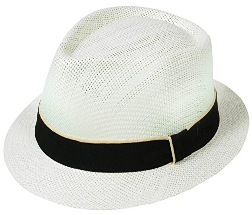Simplicity Mens Summer Cool Straw Fedora Hat, 743_Ivory S/M (Cool Summer Hats compare prices)