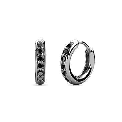 e7a0934b1 Image Unavailable. Image not available for. Color: TriJewels Petite Black  Diamond Huggies Hoop Earrings 0.25 Carat tw in 14K White Gold