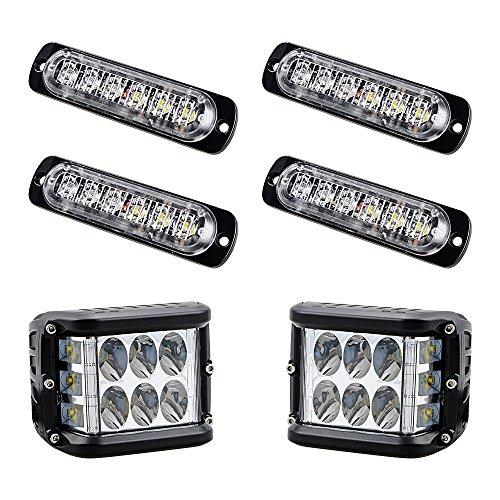 90 Watt Strobe Light (4x 6-LED Amber Ultra Thin Emergency Warning Hazard Construction Flash Strobe Lights + 90W CREE LED Lamp Bar for Truck UTV ATV SUV)