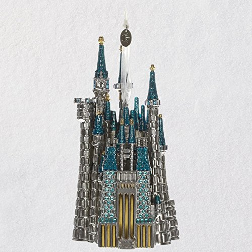 (Hallmark Keepsake Christmas Ornament 2018 Year Dated, Disney Cinderella Castle, Metal Premium Gemstone)