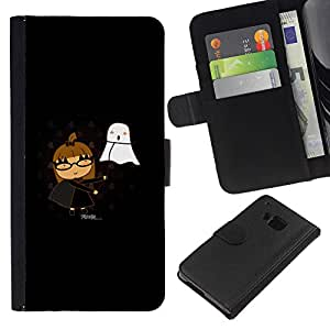 Ihec-Tech / Flip PU Cuero Cover Case para HTC ONE M7 - Funny Cute Girl & Ghost