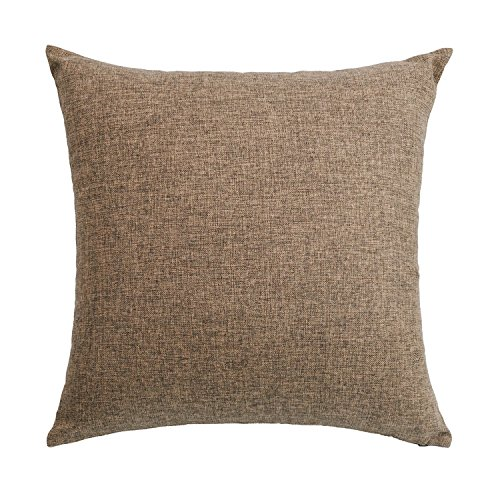 SUNOOMY Décor Soft Solid Linen Square Throw Pillow Case Cushion Covers Sofa Couch Bed Chair,Brown,18