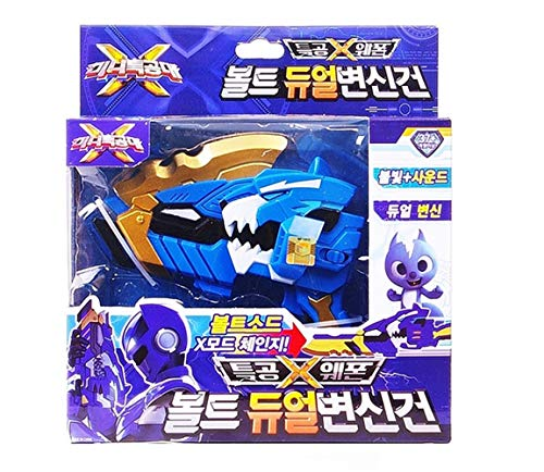 nicetoy Mini Force X Ranger Weapon Bolt Blue Transweapon Gun Sword Toy Sound & Shine(Imported from Korea)]()