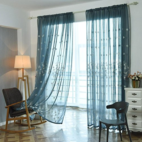 BSGSH Sheer Curtains Voile Curtains - Floral Embroidery Window Treatment Panel Drape for Bedroom Living Room Dining Room Kids Room (Blue) (Treatment Types Header Window)