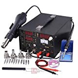 3in1 LED Digital Display Lead Free Soldering Station Welder Tool Kit 110V AC w/ Hot Air Gun Rework Iron DC Power Supply Tips Nozzles Etc. for Desolder Welding Manual Mounting Equipment SMD Component