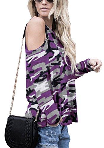 Shirts Jours Haut Blouses Casual Tous T Violet Col Rond et Fashion de Manches Femme paule Printemps Automne Tops Les Longues Dnude Tunique Camouflage AwaP6