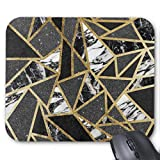 Gaming Mouse Pad Waterproof Mousepads with Non-Slip Rubber Base for Laptop Computer Desktop,10.2x8.3 inch, 3mm Thick-Modern Faux Gold Glitter Marble Geometric Triangle