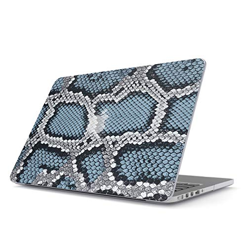 BURGA Hard Case Cover Compatible with MacBook Pro 13 Inch Case Release 2012-2015, Model: A1502 / A1425 Retina Display NO CD-ROM Blue Snake Skin Print Leather Pattern