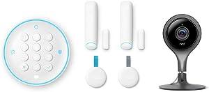 Nest 5 Piece Secure Alarm System and Indoor Cam Security Camera Surveillance Bundle